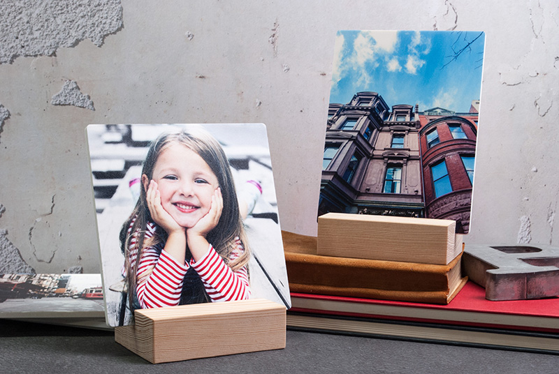 Add Flair to Dad's Desk with Acrylic Blocks and Woodstand prints