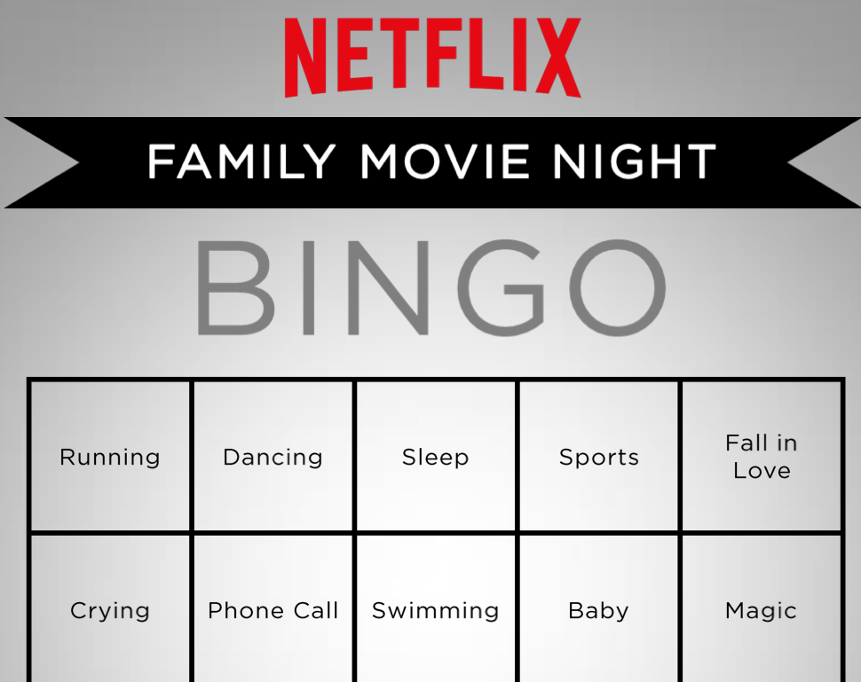 Family Movie Night Bingo